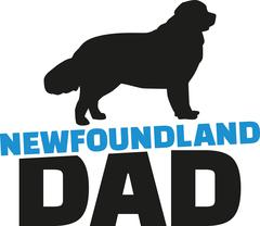 Newfoundland dad with dog silhouette Stock Illustration