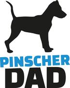Pinscher dad with dog silhouette - stock illustration