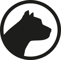 Pit bull head silhouette in circle - stock illustration