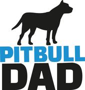 Pit bull dad with dog silhouette - stock illustration