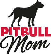 Pit bull Mom with dog silhouette - stock illustration