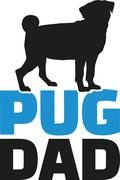 Pug dad with dog silhouette - stock illustration