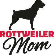 Rottweiler Mom with dog silhouette Stock Illustration
