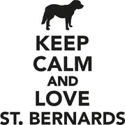 Keep calm and love St. Bernards - stock illustration