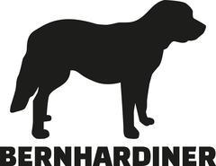 St. Bernard dog with german breed name - stock illustration