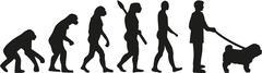 Shar pei dog owner evolution - stock illustration