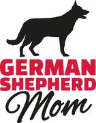 German Shepherd Mom with dog silhouette Stock Illustration