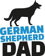 German Shepherd dad with dog silhouette Stock Illustration