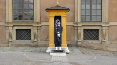 Swiss Guard Stands in Guard Hut  Royal Palace  - Stockholm Sweden Stock Footage