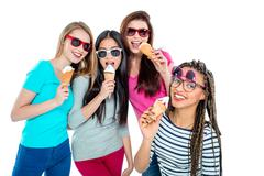 Picture of young multicultural friends - stock photo