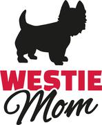 Westies Mom with dog silhouette - stock illustration