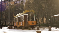 MILAN, ITALY- MARCH 22, 2016: Old vintage yellow tram №1881 Stock Footage