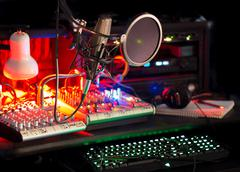 Editing Station Mixers Keyboards Microphone Tech Stock Photos