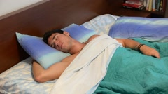 Young Man Sleeping, Having Nightmares Stock Footage