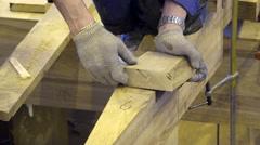 Russia, Saint-Petersburg, pos. Lahti, ul. The Coast Carpenter checks the marks Stock Footage