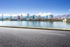 Road,water,cityscape and skyline in portland Kuvituskuvat