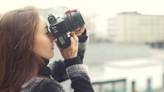 Beautiful Young Female Photographer 4k Stock Footage