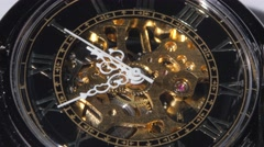 Working old clock mechanism. Close up Stock Footage