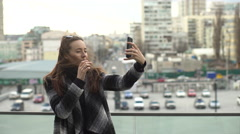 Girl in Sun Glasses Protection Makes Selfie Phone Stock Footage