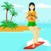 Professional wakeboard sportswoman - stock illustration