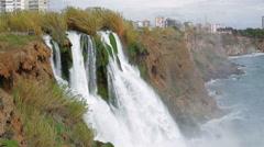 View of Duden Waterfall in Antalya, Turkey Stock Footage