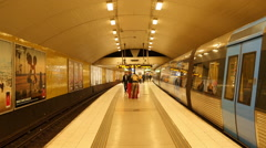 Busy Subway Station Platform-  Stockholm Sweden Stock Footage