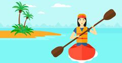 Woman riding in canoe Stock Illustration