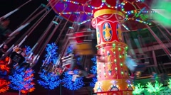 spinning carousel (merry-go-round) - stock footage