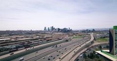 Aerial Drone Shot of Denver Skyline Stock Footage