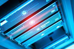 Storage servers in data room Domestic Room Stock Photos