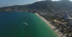 Aerial sweep of seadoos on patong ocean Stock Footage