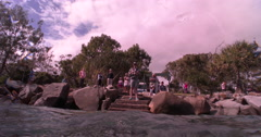 Ocean scenery from crowd of people watching on the rocks to under water. Stock Footage