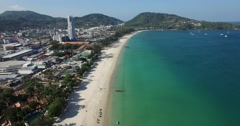 Aerial - long smooth sweep over patong beach Stock Footage