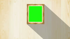Green screen old style picture wood frame with moving shadow background. - stock footage