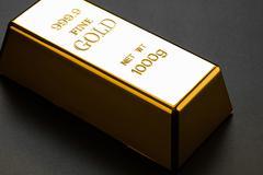closeup of gold bullion - stock photo
