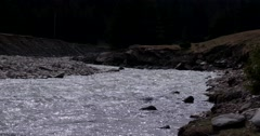 Shallow River With Rocks and Rapids in Autumn. Stock Footage