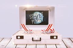 Composite image of see the planet - stock illustration
