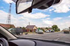 The accident on the road. The view from the car window - stock photo