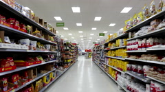 Dried fruits and flour corridor in Walmart store Stock Footage