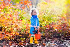 Little girl picking acorns in autumn park Stock Photos