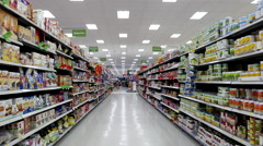 Canned meat and gluten free food corridor in Walmart store Stock Footage