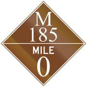 Michigan Route shield of the M-185 at mile zero Stock Illustration