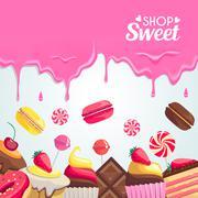 Sweet dessert food frame isolated on white background Stock Illustration