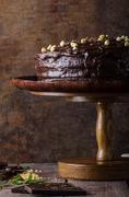 Chocolate cake three layers Stock Photos