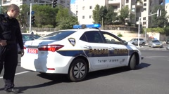 Israelo Police Force In City Road Junction - stock footage