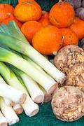 Leek, pumpkin and celery Stock Photos
