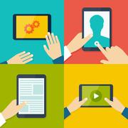 Tablet pc in human hands. Flat style vector illustration Stock Illustration