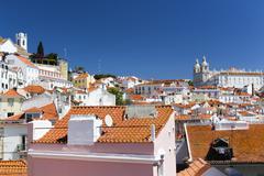 Vibrant rooftops of Alfama - stock photo