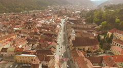 Downtown from above in Brasov, Romania Stock Footage