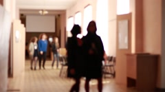 Anonymous students in a hall Stock Footage